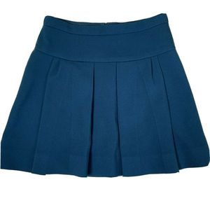 J.CREW 00 Skirt Pleated Blue Lined Caravan Womens
